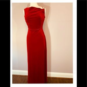 Rimini by Shaw Red Velvet evening dress stretchy